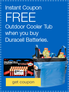 FREE Outdoor Cooler Tub when you spend $50 or more on Duracell® Batteries.