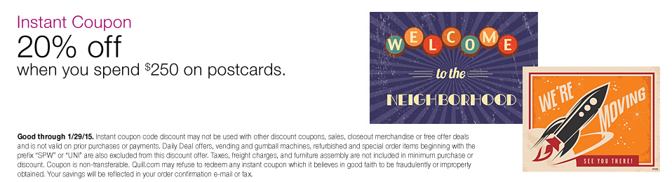 $50 off when you spend $200 on postcards.