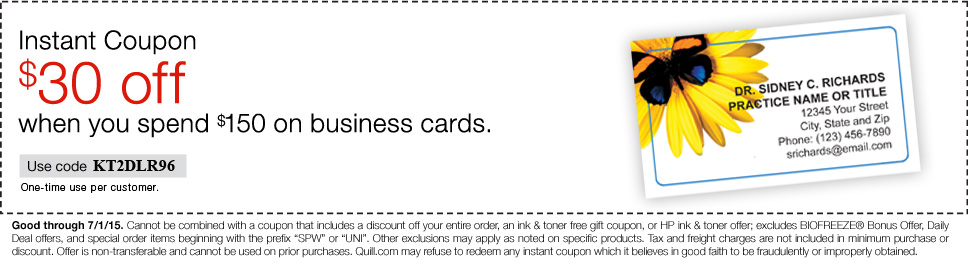 $30 off  when you spend $150 on Business Cards