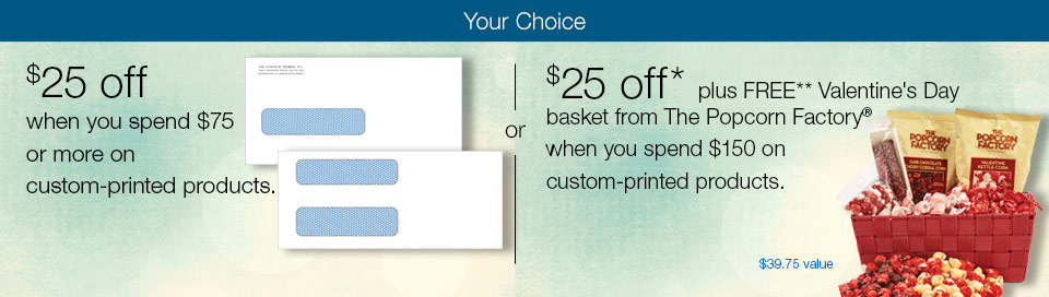 $25 off when you spend $75 on custom-printed products.