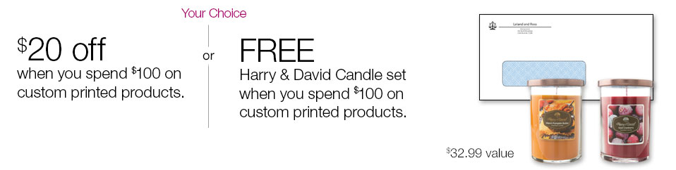 $20 off when you spend $100 on custom printed products