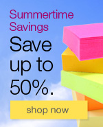 Summertime savings. Save up to 50% on office supplies.