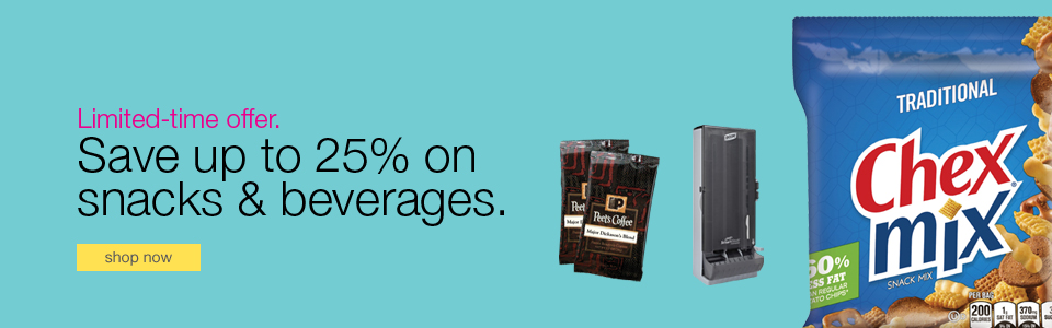 Save up to 25% on snacks & beverages.