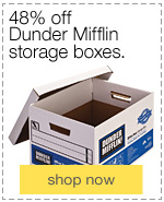 48% off Dunder Mifflin storage boxes.