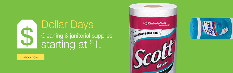 Dollars Days. Cleaning & janitorial supplies starting at $1.