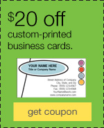 $20 off custom printed business cards.