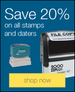 Save 20% on all stamps and daters.