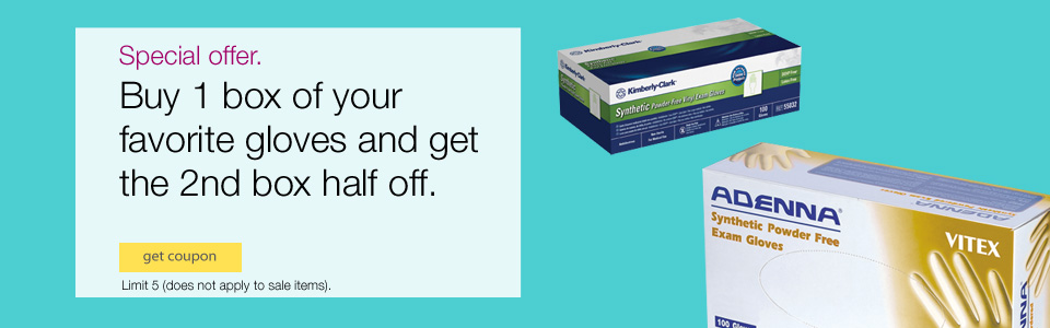 Buy 1 Box of your Favorite Gloves & Get the 2nd Half Off - Limit 5 (does not apply to sale items).