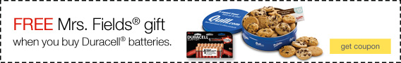 FREE Mrs. Fields® gift when you buy Duracell® batteries.