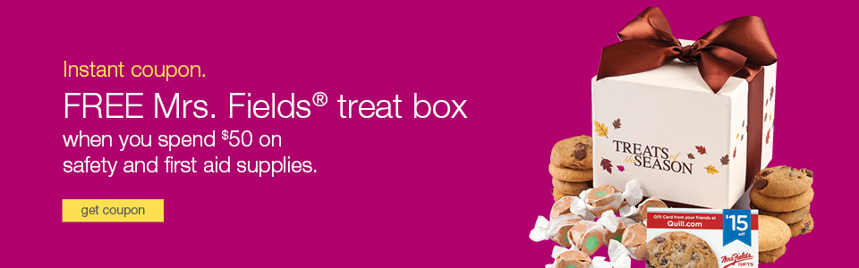 FREE Mrs. Fields Treat Box when you spend $50 on safety & first aid supplies.