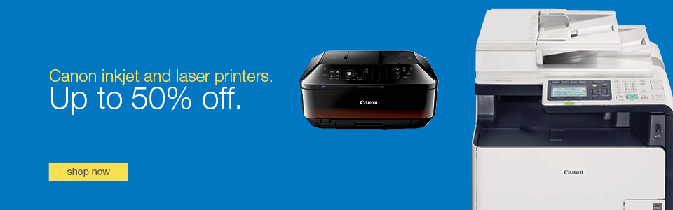 All Canon inkjet and laser printers on sale save up to 50% off.
