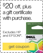 $20 off, plus a $50 Restaurant.com gift certificate with ink & toner purchase.