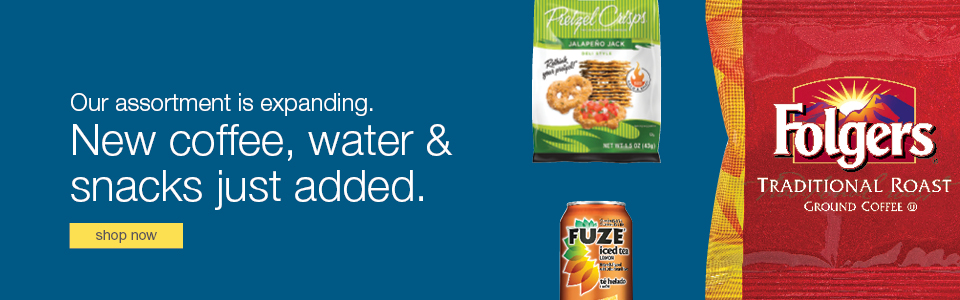Our assortment is expanding. New coffee, water & snacks just added.