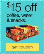 $15 off coffee, water & snacks.