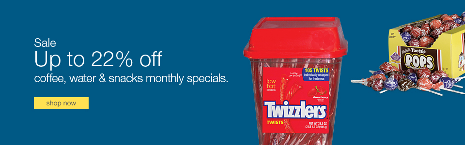 Save up to 22% on coffee, water, & snacks monthly specials.