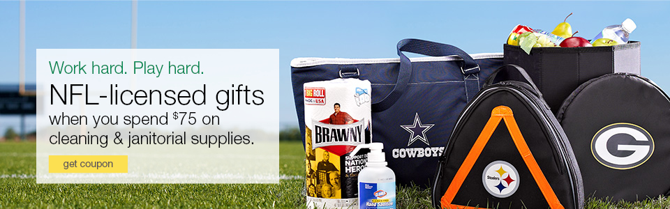 Work hard. Play Hard. Complimentary NFL-licensed gift when you spend $75 on cleaning & janitorial supplies.