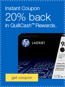 20% back in QuillCash™ with HP ink & toner.