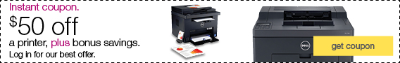 Instant coupon. $50 off a printer, plus bonus savings. Log in for our best offer.