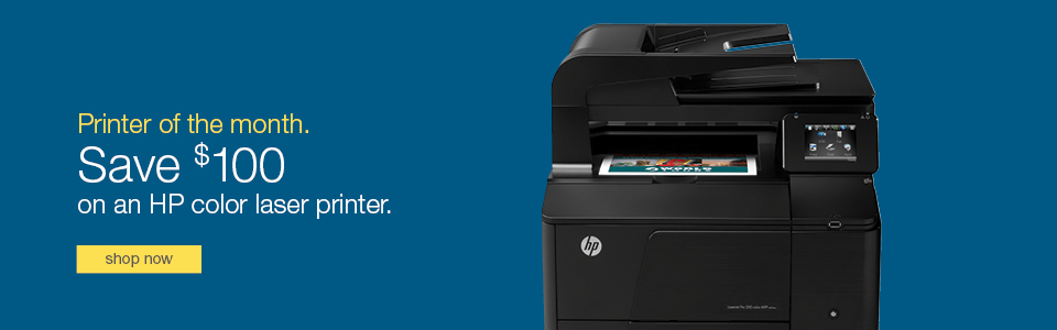 Printer of the  Month. Save $100 on an HP color laser printer.