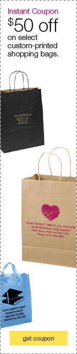 Custom-printed shopping bags.