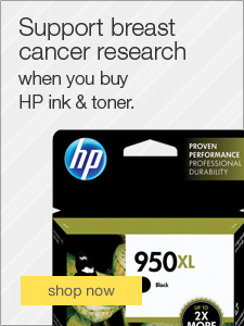 Support breast cancer research when you buy HP ink & toner.