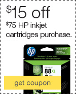 $15 off when you spend $75 on HP inkjet cartridges.