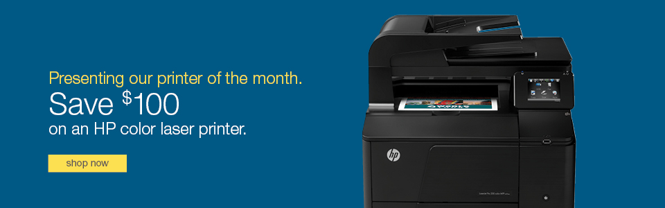 Presenting our Printer of the  Month. Save $100 on an HP color laser printer.