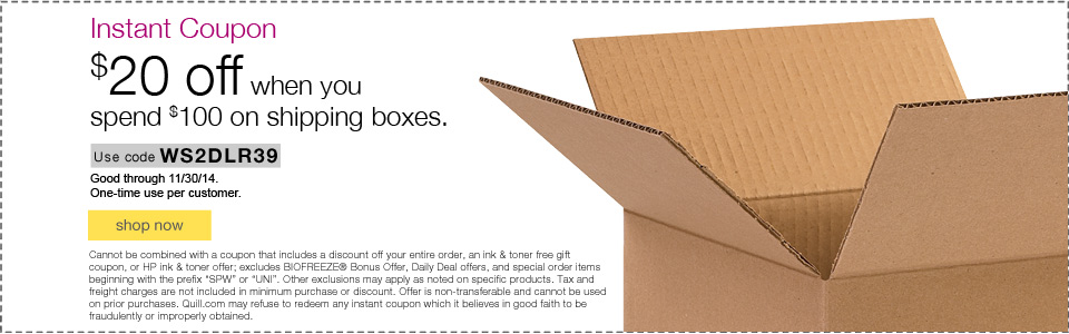 Instant Coupon. $20 off when you spend $100 on shipping boxes.