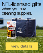 Final month to collect all 8! NFL-licensed gifts when you buy cleaning and janitorial supplies.