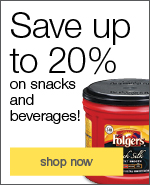 Save up to 20% on snacks and beverages!