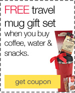 Something to warm you up. FREE gourmet gift mug when you spend $75 on coffee, water & snacks.