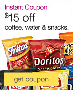 Instant Coupon. $15 off coffee, water & snacks.
