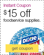 Instant coupon. $15 off when you spend $75 on foodservice supplies, including all the essentials you need for holiday parties.