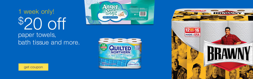 Angel Soft, Quilted Northern toilet paper and Brawny paper towels