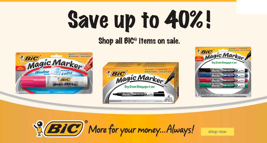Save up to 40%! Shop all BIC® items on sale.