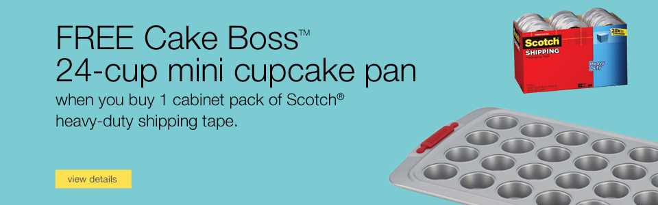 Instant coupon. FREE Cake Boss™ 24-cup Mini Cake and Muffin Pan when you buy 1 cabinet pack of Scotch® heavy-duty shipping tape.