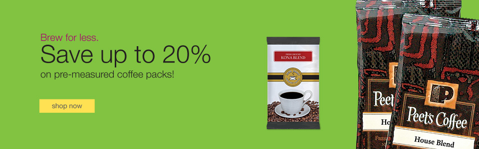 Brew for less. Save up to 20% on pre-measured coffee packs!