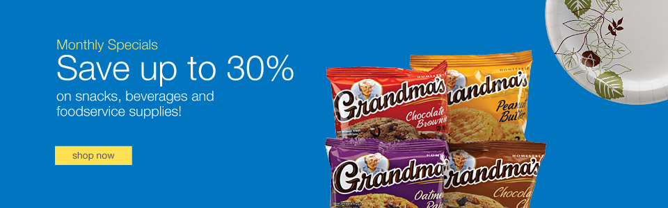 Monthly specials. Save up to 30% on snacks, beverages and foodservice supplies!
