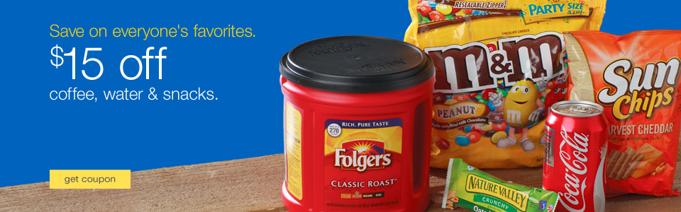 Folgers® coffee, M&M's®, Coca-Cola®, Sun Chips and Nature Valley granola bar