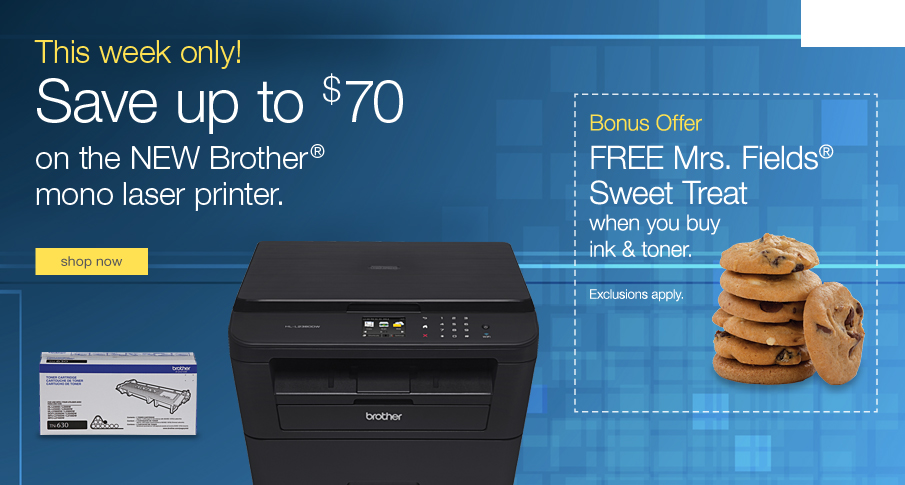 Save up to $70 on the new Brother® mono laser printer.