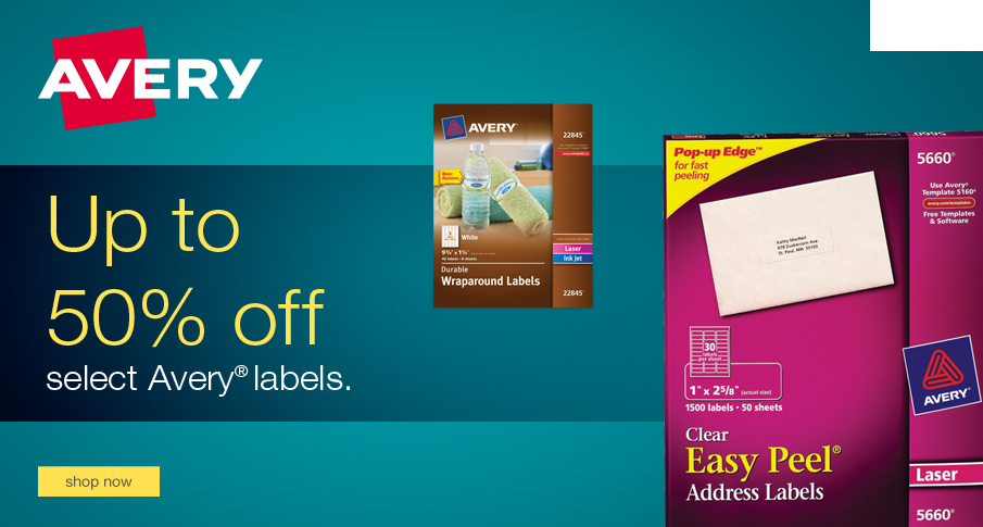 Up to 50% off select Avery Shipping Labels.