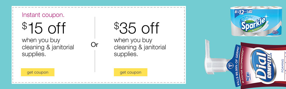 $35 off cleaning and janitorial supplies.