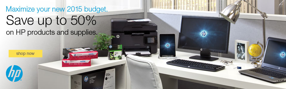 New year – new tech! Maximize your new 2015 budget with HP products & supplies.