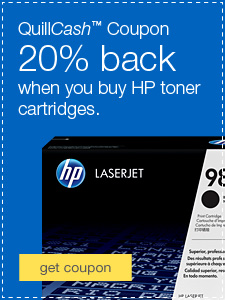 QuillCash™ Coupon. 20% back when you buy HP laser toner cartridges.