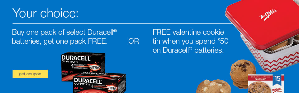 Buy one pack of select Duracell batteries, get one pack FREE.