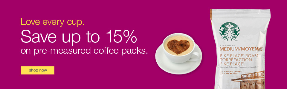 Love every cup. Save up to 15% on pre-measured coffee packs.