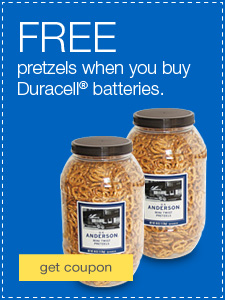 FREE pretzels when you buy Duracell® batteries.
