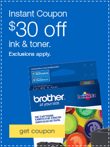 $30 off ink & toner. Exclusions apply.