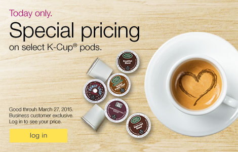 Today only. Special pricing on select K-Cup® pods.