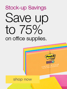 Save up to 75% on office supplies.